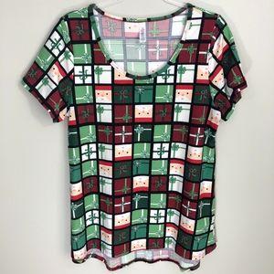 LuLaRoe Classic T-Shirt Christmas Holiday Print L